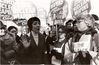 Women's Strike for Peace protest at the White House. Midge came out of the White House to talk to them. 2-8-77